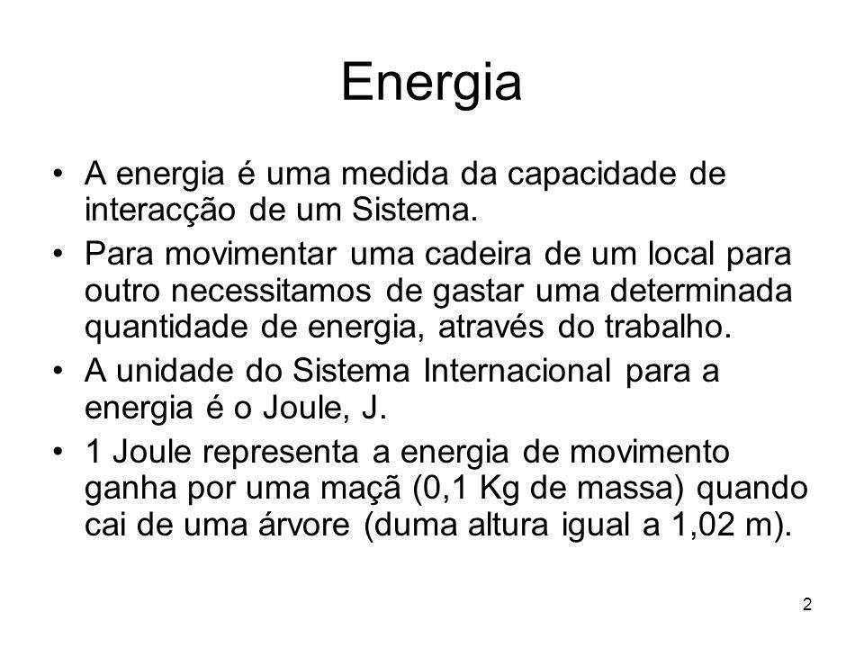 2 Energia A energia é uma medida da capacidade de interacção de um Sistema. Para movimentar uma cadeira de um local para outro necessitamos de gastar