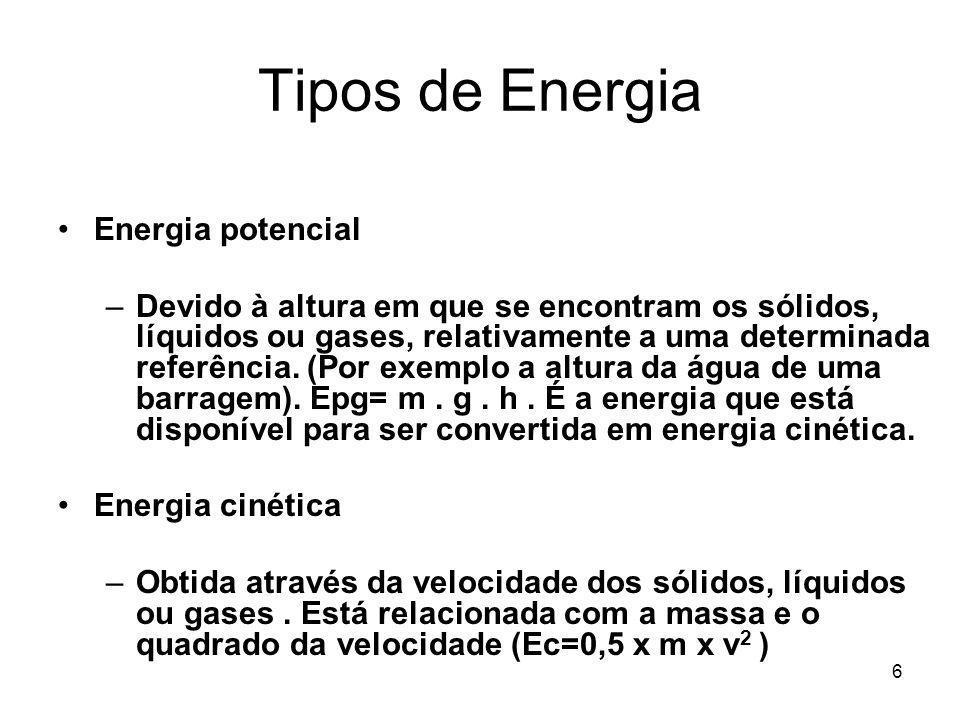 6 Tipos de Energia Energia potencial –Devido à altura em que se encontram os sólidos, líquidos ou gases, relativamente a uma determinada referência. (
