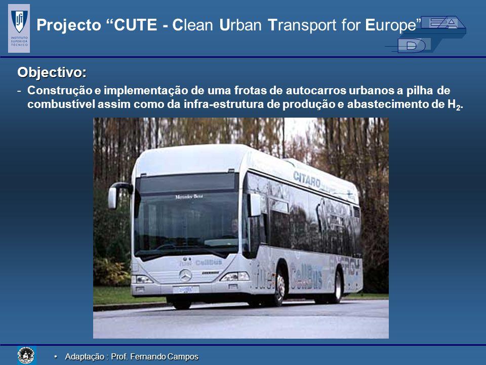 Adaptação : Prof. Fernando CamposAdaptação : Prof. Fernando Campos Projecto CUTE - Clean Urban Transport for Europe Objectivo: - -Construção e impleme