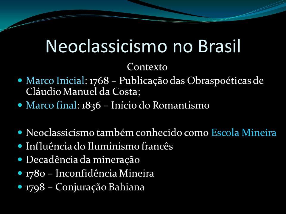 Neoclassicismo no Brasil Contexto Marco Inicial: 1768 – Publicação das Obraspoéticas de Cláudio Manuel da Costa; Marco final: 1836 – Início do Romanti