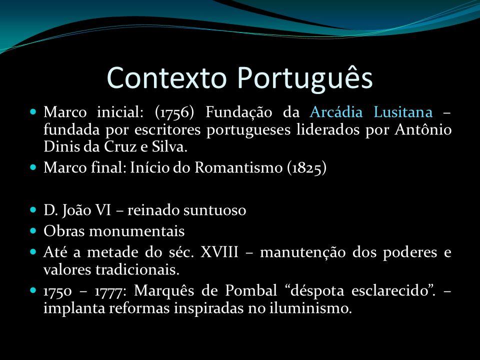 Contexto Português Marco inicial: (1756) Fundação da Arcádia Lusitana – fundada por escritores portugueses liderados por Antônio Dinis da Cruz e Silva