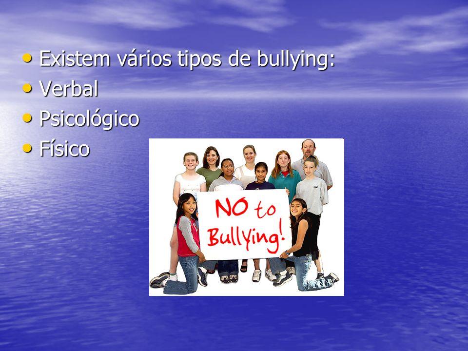 Existem vários tipos de bullying: Existem vários tipos de bullying: Verbal Verbal Psicológico Psicológico Físico Físico