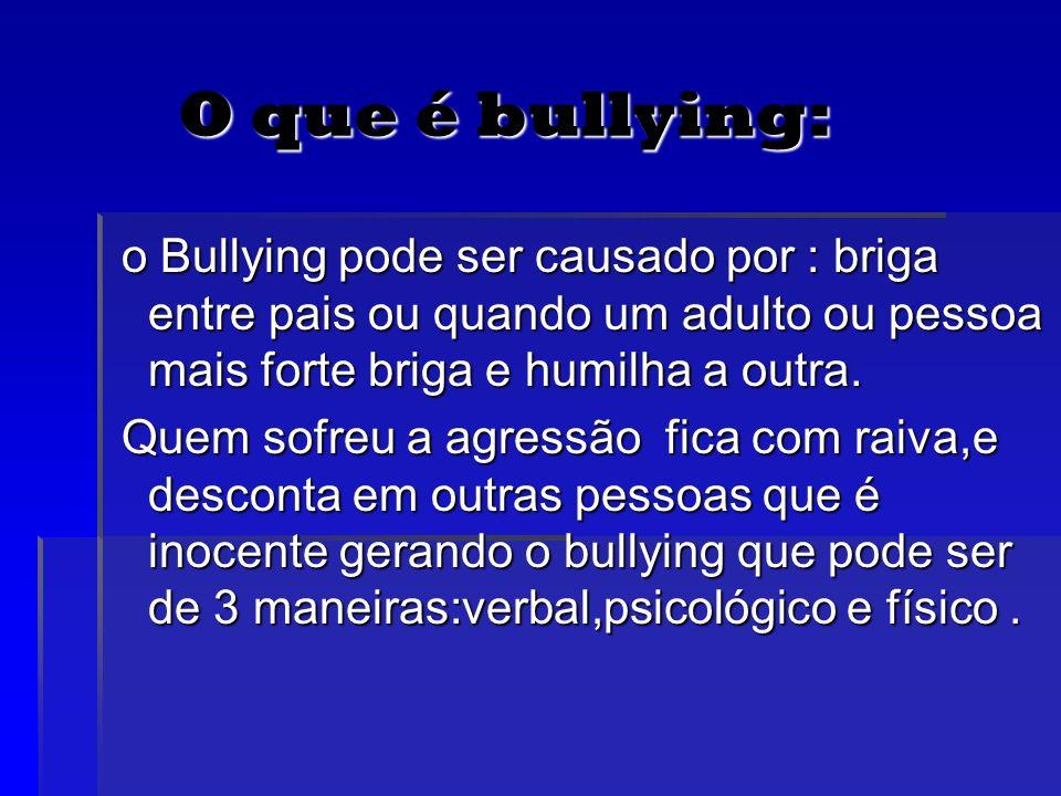 O que é bullying: O que é bullying: o Bullying pode ser causado por : briga entre pais ou quando um adulto ou pessoa mais forte briga e humilha a outr