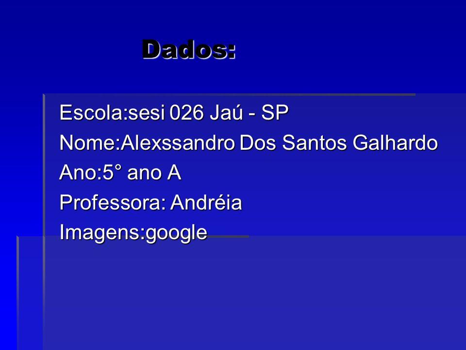 Dados: Dados: Escola:sesi 026 Jaú - SP Escola:sesi 026 Jaú - SP Nome:Alexssandro Dos Santos Galhardo Nome:Alexssandro Dos Santos Galhardo Ano:5° ano A