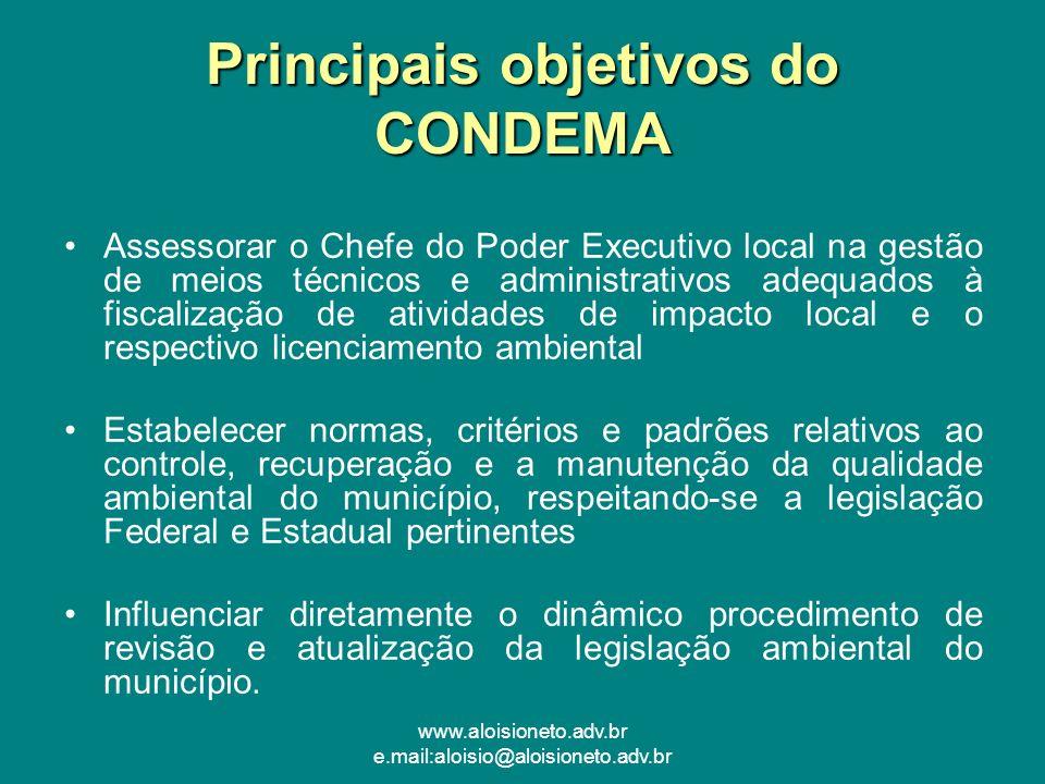 www.aloisioneto.adv.br e.mail:aloisio@aloisioneto.adv.br Principais objetivos do CONDEMA Assessorar o Chefe do Poder Executivo local na gestão de meio