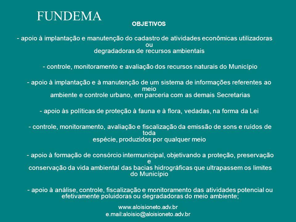 www.aloisioneto.adv.br e.mail:aloisio@aloisioneto.adv.br OBJETIVOS - apoio à implantação e manutenção do cadastro de atividades econômicas utilizadora