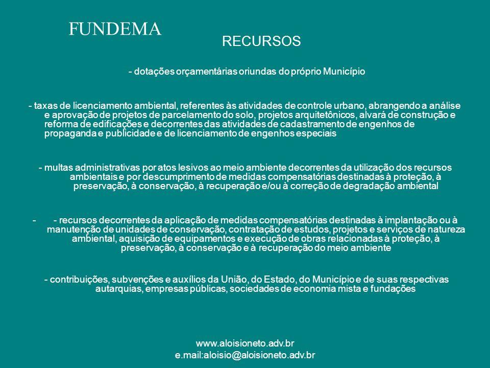 www.aloisioneto.adv.br e.mail:aloisio@aloisioneto.adv.br RECURSOS - dotações orçamentárias oriundas do próprio Município - taxas de licenciamento ambi
