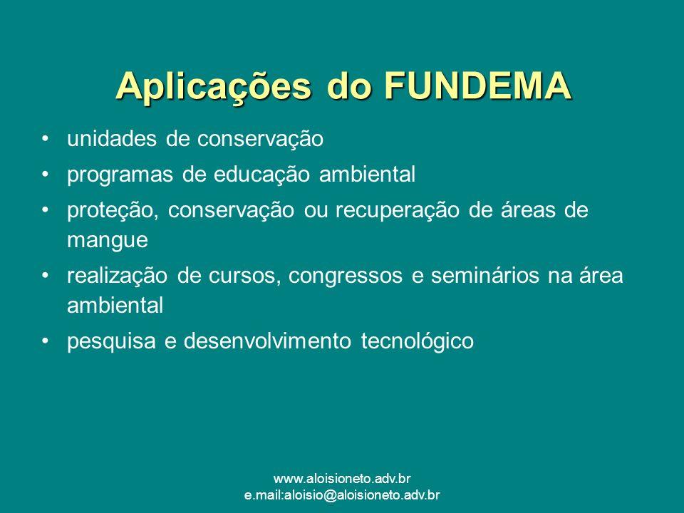 www.aloisioneto.adv.br e.mail:aloisio@aloisioneto.adv.br Aplicações do FUNDEMA unidades de conservação programas de educação ambiental proteção, conse