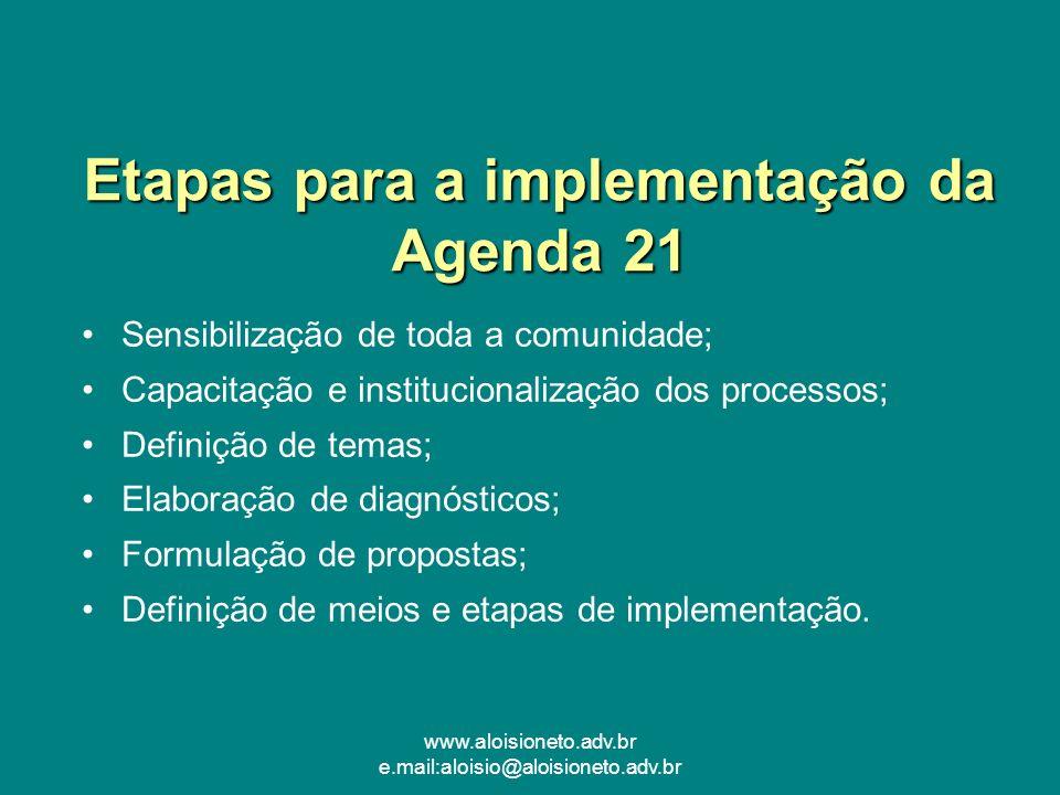 www.aloisioneto.adv.br e.mail:aloisio@aloisioneto.adv.br Etapas para a implementação da Agenda 21 Sensibilização de toda a comunidade; Capacitação e i