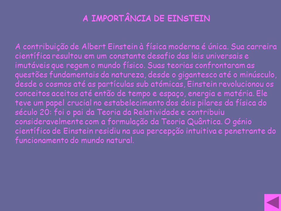 A IMPORTÂNCIA DE EINSTEIN A contribuição de Albert Einstein à física moderna é única. Sua carreira científica resultou em um constante desafio das lei