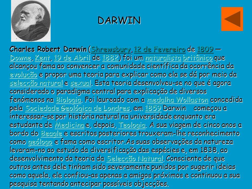 DARWIN Charles Robert Darwin (Shrewsbury, 12 de Fevereiro de 1809 Downe, Kent, 19 de Abril de 1882) foi um naturalista britânico que alcançou fama ao