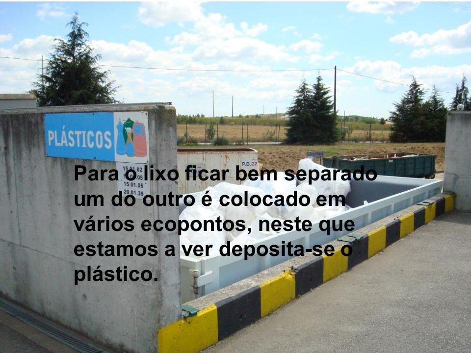 Para o lixo ficar bem separado um do outro é colocado em vários ecopontos, neste que estamos a ver deposita-se o plástico.