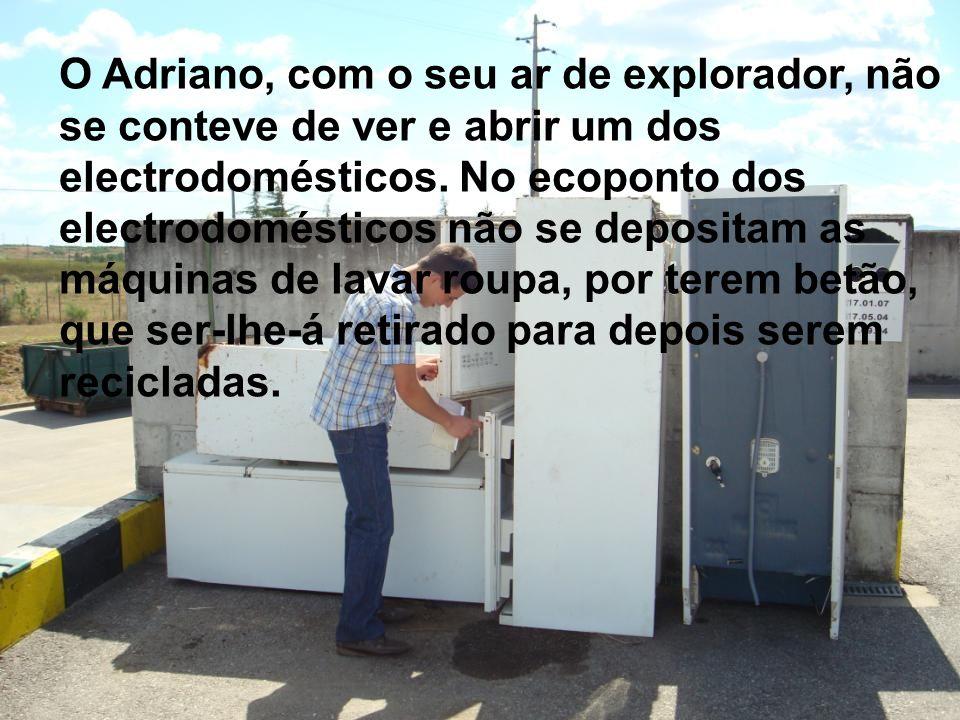 O Adriano, com o seu ar de explorador, não se conteve de ver e abrir um dos electrodomésticos. No ecoponto dos electrodomésticos não se depositam as m