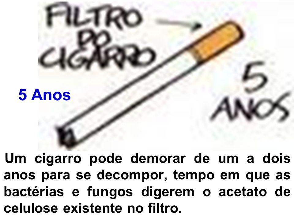Um cigarro pode demorar de um a dois anos para se decompor, tempo em que as bactérias e fungos digerem o acetato de celulose existente no filtro. 5 An