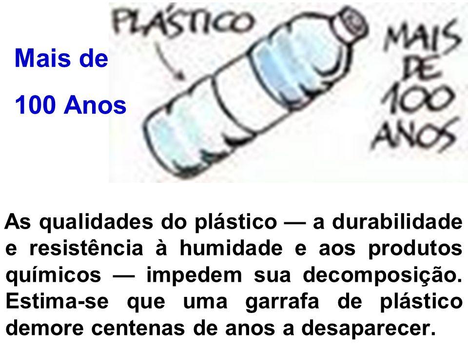 As qualidades do plástico a durabilidade e resistência à humidade e aos produtos químicos impedem sua decomposição. Estima-se que uma garrafa de plást