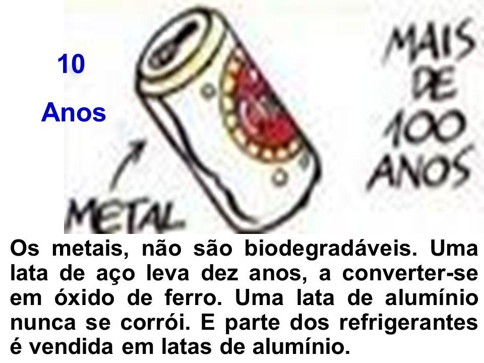 Os metais, não são biodegradáveis. Uma lata de aço leva dez anos, a converter-se em óxido de ferro. Uma lata de alumínio nunca se corrói. E parte dos