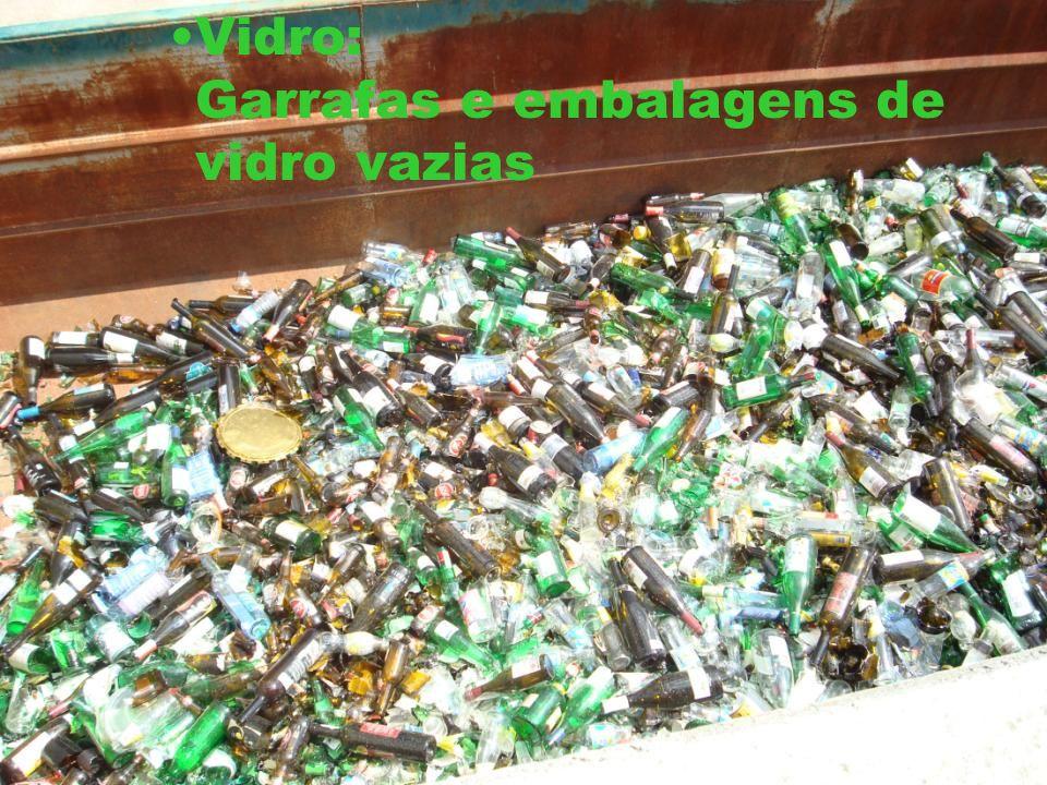Vidro: Garrafas e embalagens de vidro vazias