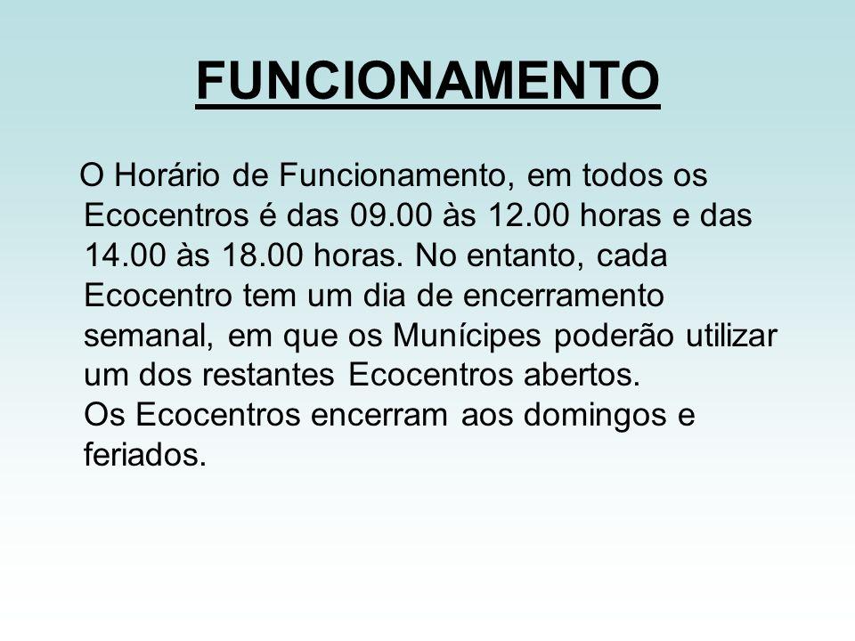 FUNCIONAMENTO O Horário de Funcionamento, em todos os Ecocentros é das 09.00 às 12.00 horas e das 14.00 às 18.00 horas. No entanto, cada Ecocentro tem