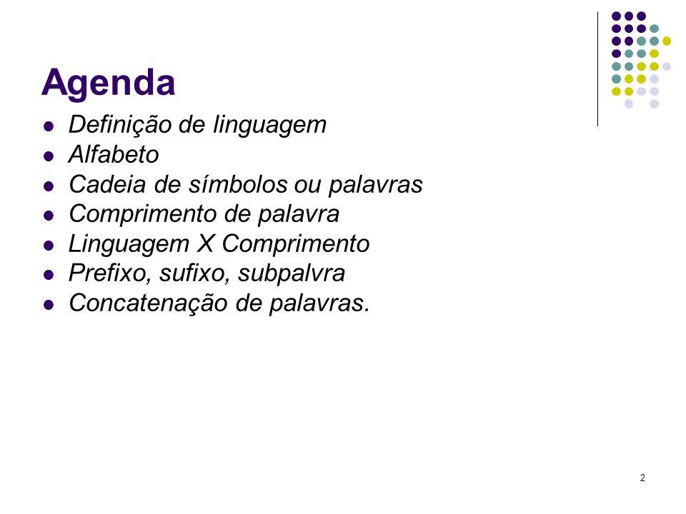 2 Agenda Definição de linguagem Alfabeto Cadeia de símbolos ou palavras Comprimento de palavra Linguagem X Comprimento Prefixo, sufixo, subpalvra Conc