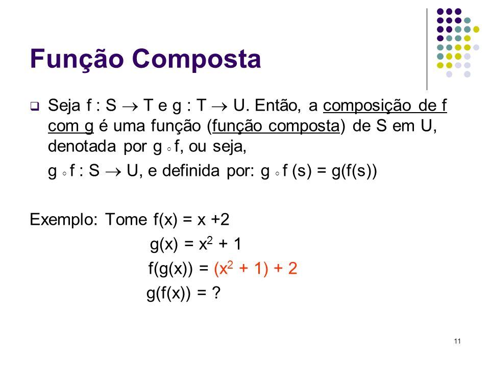 11 Função Composta Seja f : S T e g : T U. Então, a composição de f com g é uma função (função composta) de S em U, denotada por g f, ou seja, g f : S