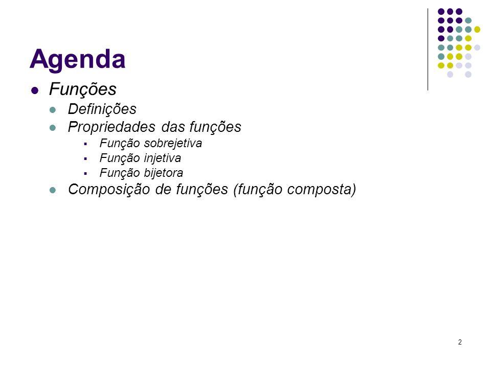 2 Agenda Funções Definições Propriedades das funções Função sobrejetiva Função injetiva Função bijetora Composição de funções (função composta)