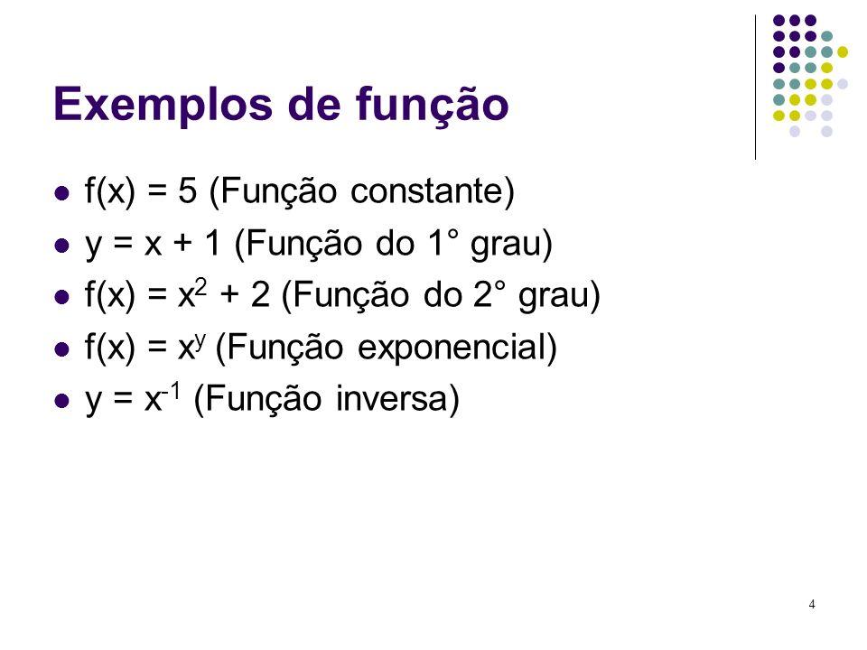 4 Exemplos de função f(x) = 5 (Função constante) y = x + 1 (Função do 1° grau) f(x) = x 2 + 2 (Função do 2° grau) f(x) = x y (Função exponencial) y =