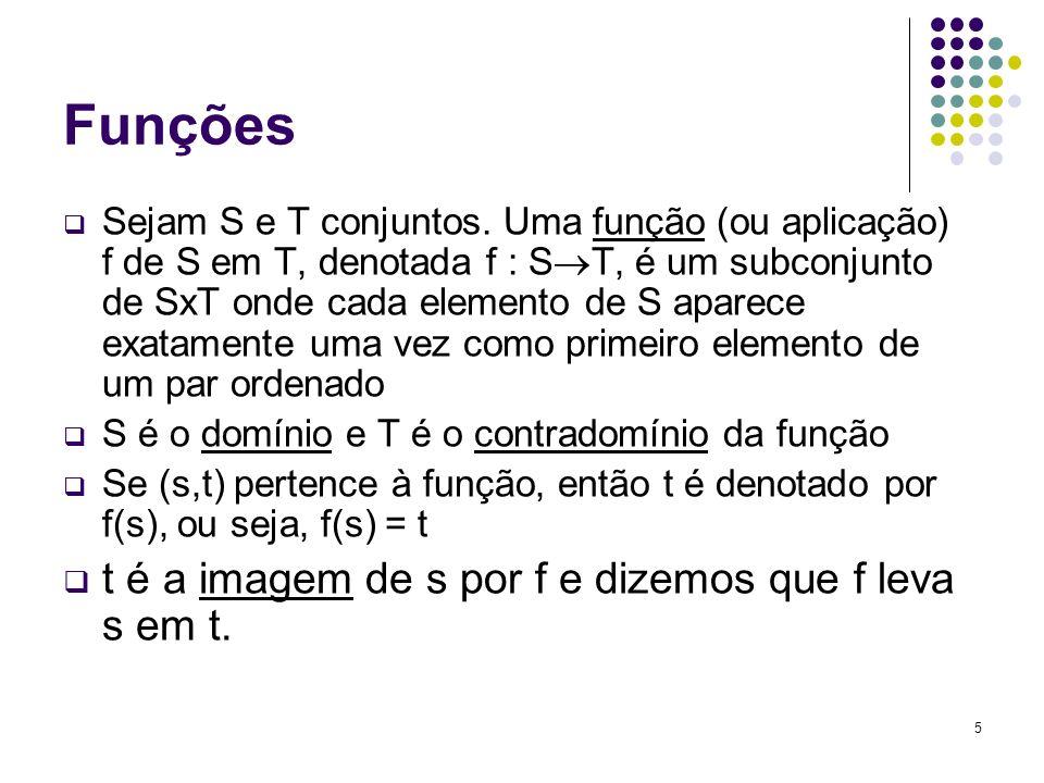 6 Propriedades das funções Seja f: S T.