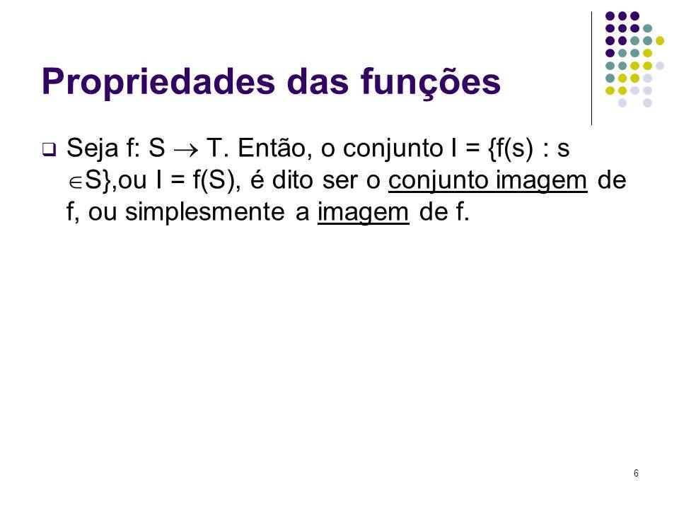 6 Propriedades das funções Seja f: S T. Então, o conjunto I = {f(s) : s S},ou I = f(S), é dito ser o conjunto imagem de f, ou simplesmente a imagem de