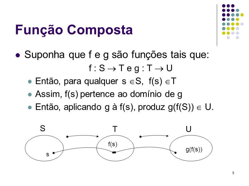 8 Função Composta Suponha que f e g são funções tais que: f : S T e g : T U Então, para qualquer s S, f(s) T Assim, f(s) pertence ao domínio de g Entã