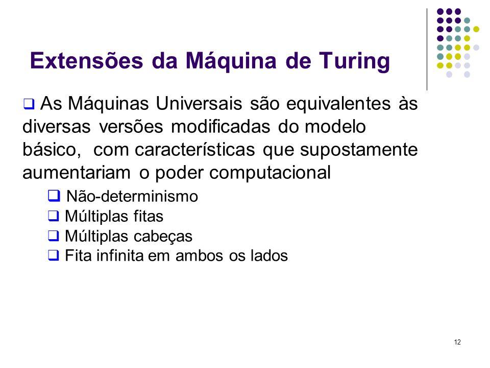 12 As Máquinas Universais são equivalentes às diversas versões modificadas do modelo básico, com características que supostamente aumentariam o poder