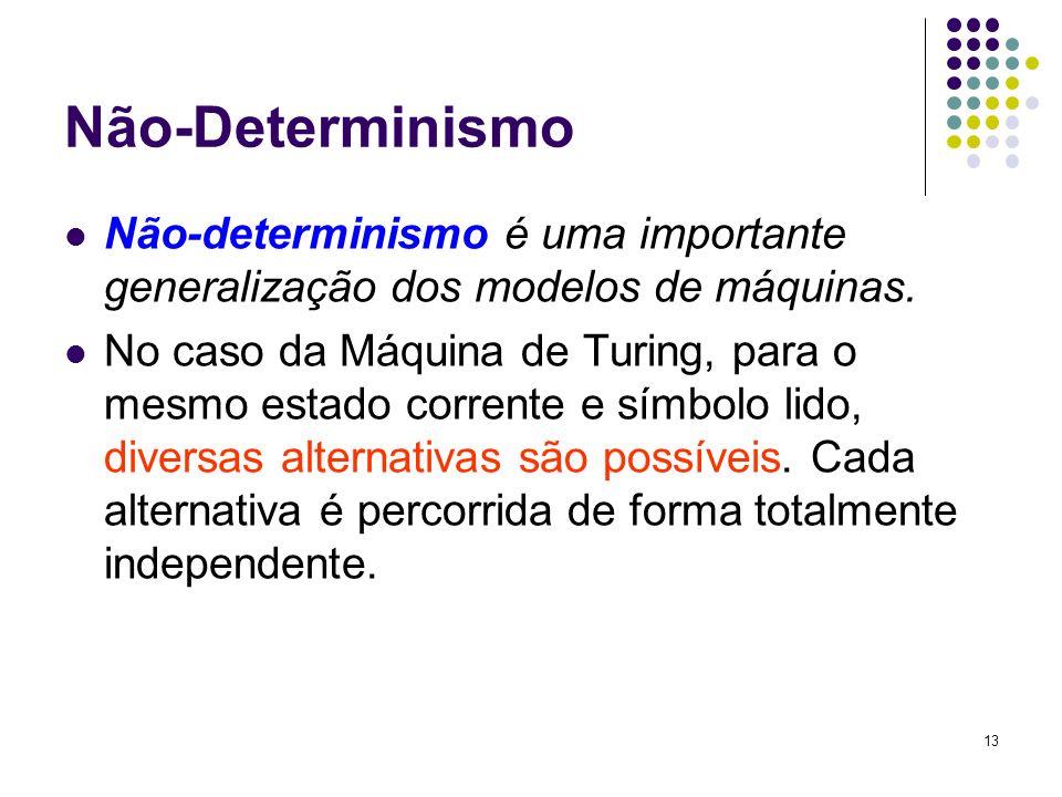 13 Não-Determinismo Não-determinismo é uma importante generalização dos modelos de máquinas. No caso da Máquina de Turing, para o mesmo estado corrent