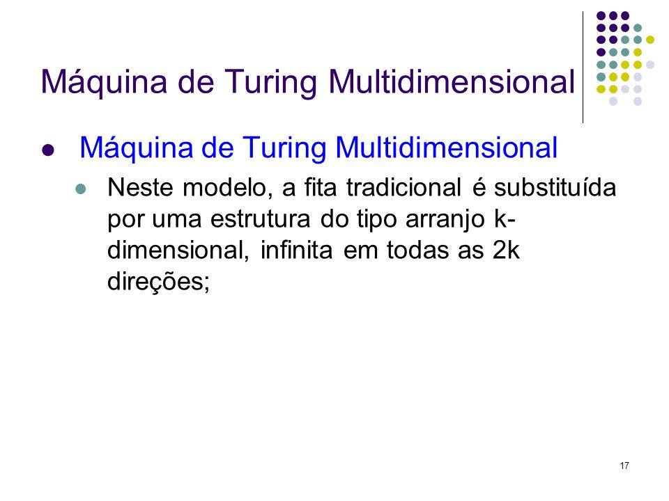 17 Máquina de Turing Multidimensional Neste modelo, a fita tradicional é substituída por uma estrutura do tipo arranjo k- dimensional, infinita em tod