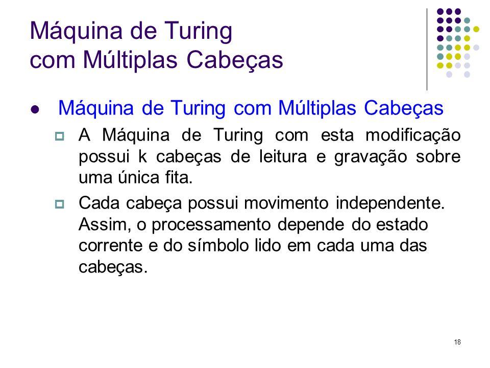 18 Máquina de Turing com Múltiplas Cabeças A Máquina de Turing com esta modificação possui k cabeças de leitura e gravação sobre uma única fita. Cada