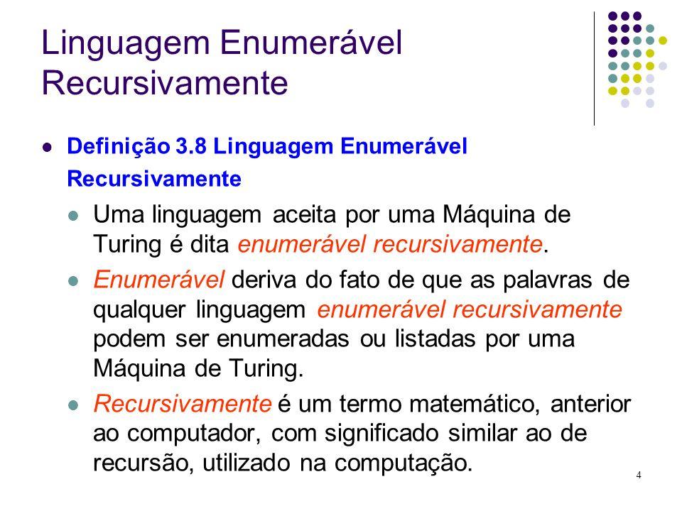 4 Linguagem Enumerável Recursivamente Definição 3.8 Linguagem Enumerável Recursivamente Uma linguagem aceita por uma Máquina de Turing é dita enumeráv