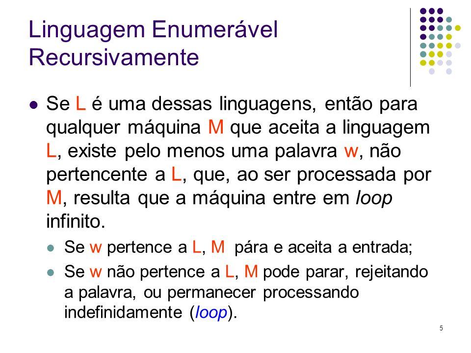 5 Linguagem Enumerável Recursivamente Se L é uma dessas linguagens, então para qualquer máquina M que aceita a linguagem L, existe pelo menos uma pala