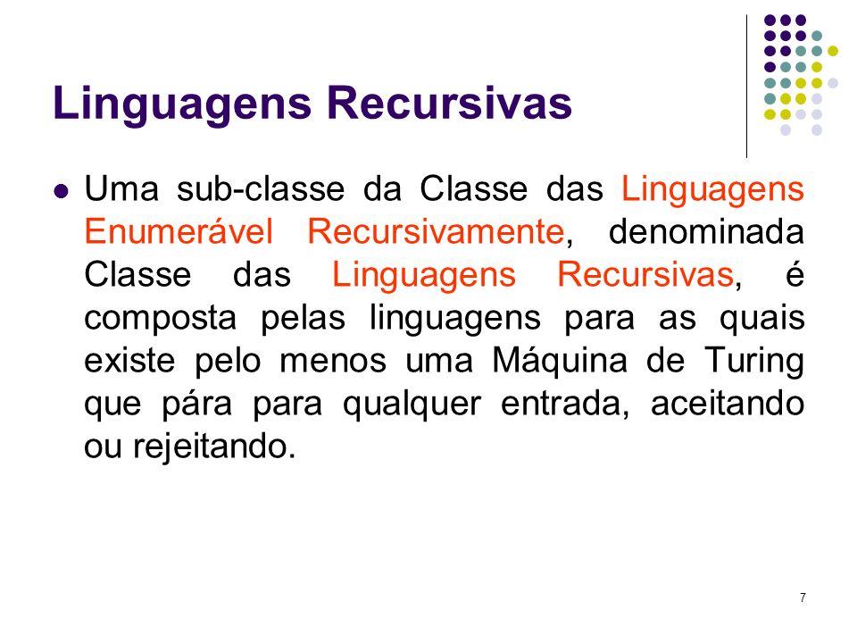 8 Linguagens Recursivas Uma linguagem L é dita Linguagem Recursiva se existe uma Máquina de Turing M, tal que: ACEITA(M) = L REJEITA(M) = * - L LOOP(M) =