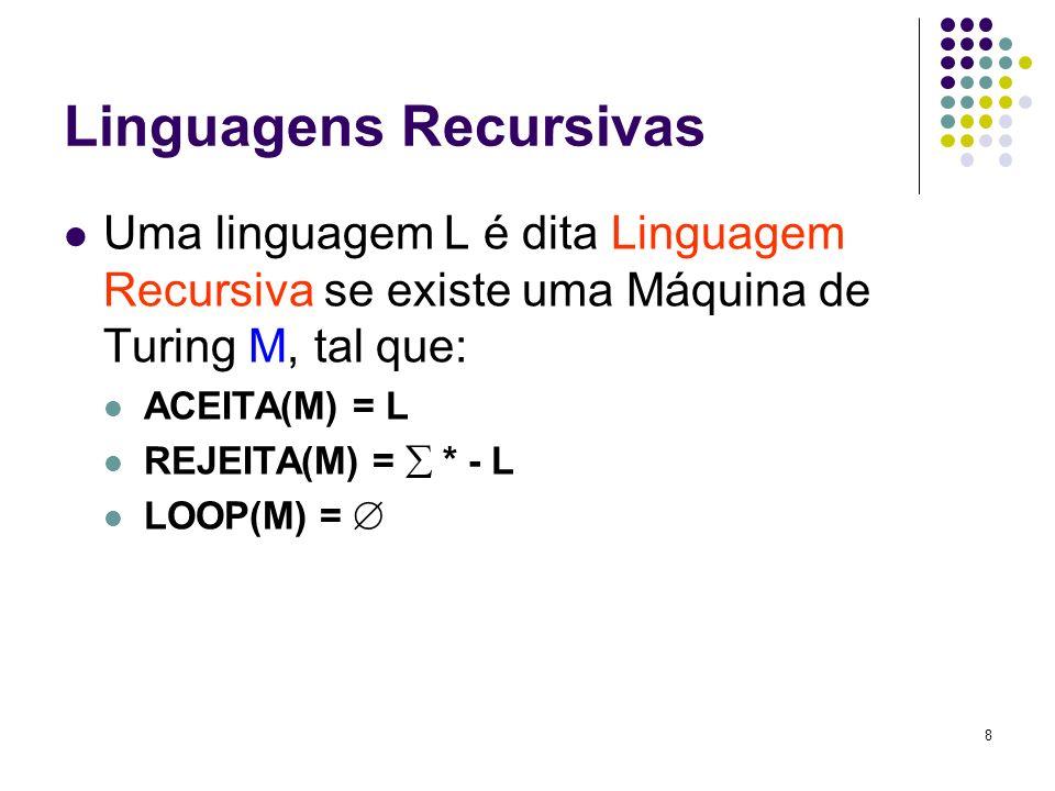 8 Linguagens Recursivas Uma linguagem L é dita Linguagem Recursiva se existe uma Máquina de Turing M, tal que: ACEITA(M) = L REJEITA(M) = * - L LOOP(M
