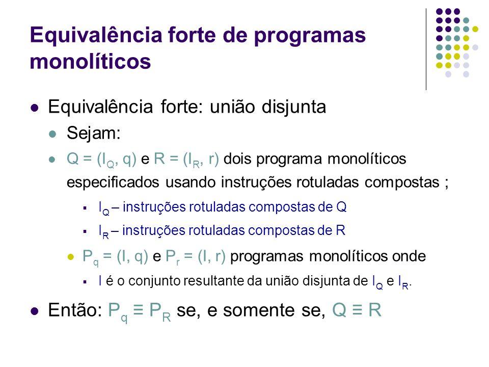 Equivalência forte de programas monolíticos Definições Cadeia de conjuntos Cadeia finita de conjuntos Limite de cadeia finita de conjuntos