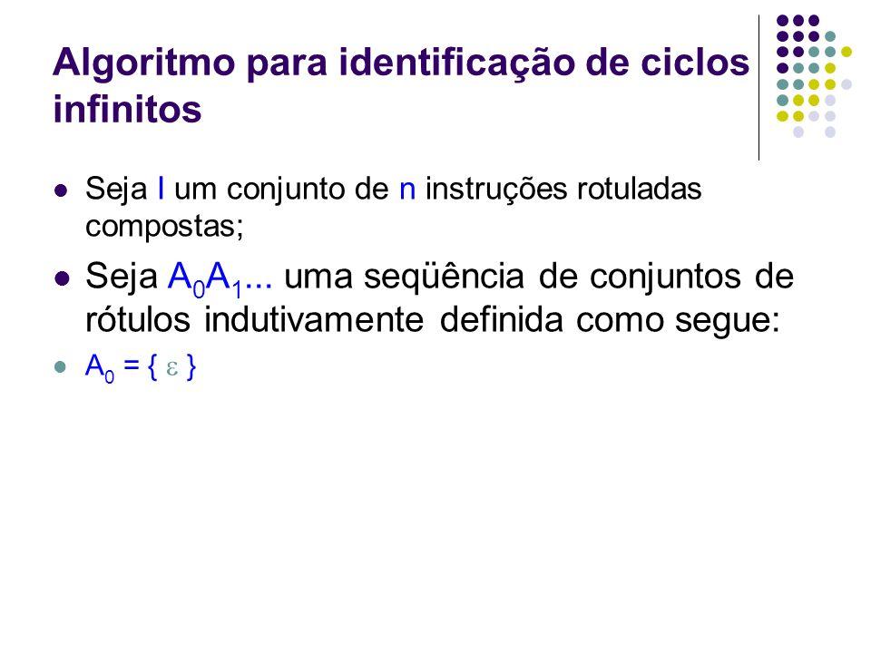 Algoritmo para identificação de ciclos infinitos A k+1 = A k {r | r é rótulo de instrução antecessora de alguma instrução rotulada por A k } Então A 0 A 1...