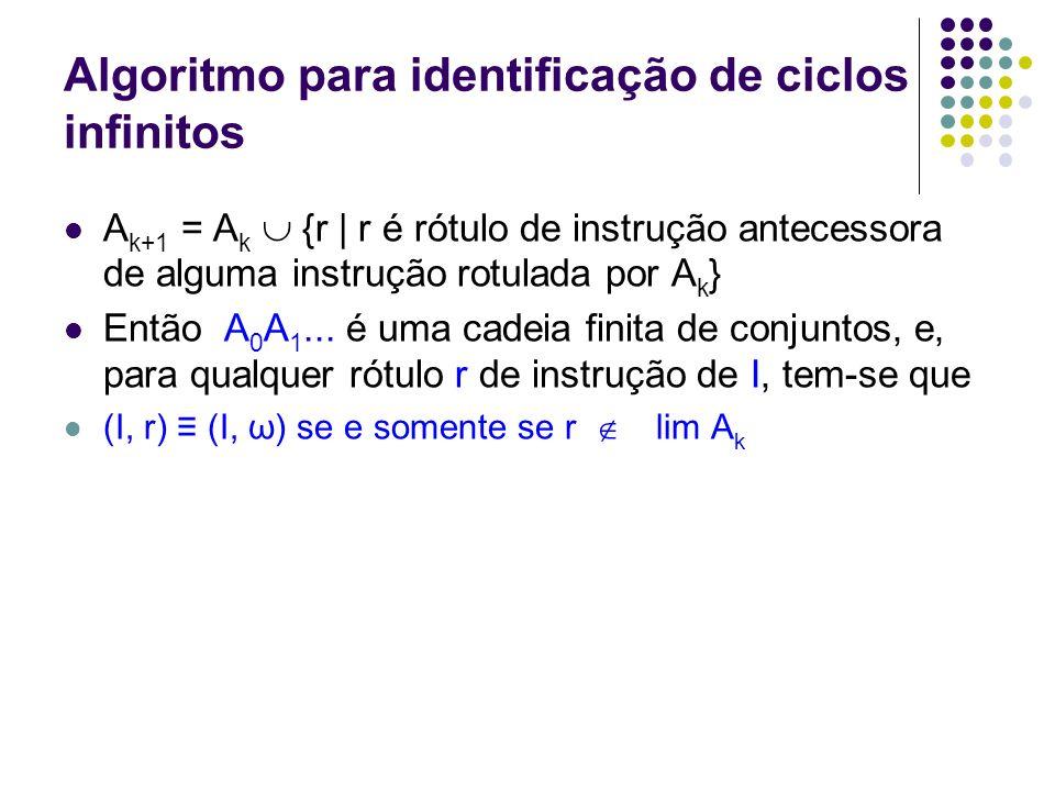 Algoritmo para identificação de ciclos infinitos Considere o conjunto I de instruções rotuladas compostas abaixo: