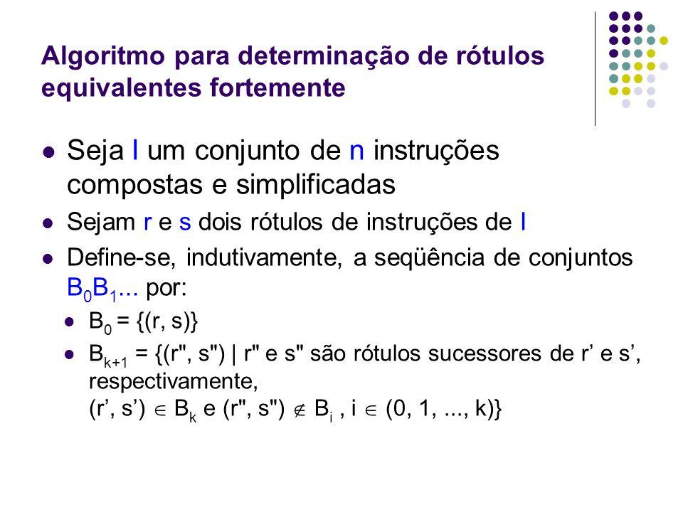 Algoritmo para determinação de rótulos equivalentes fortemente Então B 0 B 1...