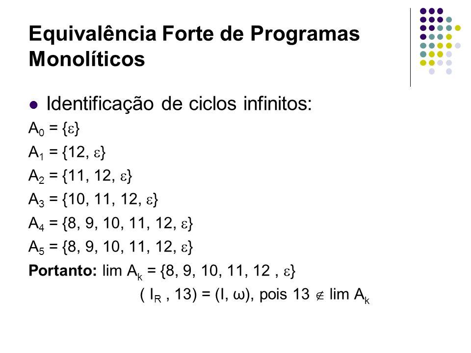 Equivalência Forte de Programas Monolíticos b) A especificação do programa R usando instruções rotuladas compostas, tem-se: 1.