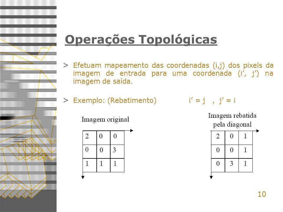 10 Operações Topológicas > Efetuam mapeamento das coordenadas (i,j) dos pixels da imagem de entrada para uma coordenada (i, j) na imagem de saída.