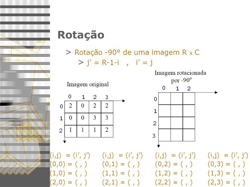 Rotação > Rotação -90° de uma imagem R x C > j = R-1-i, i = j (i,j) = (i, j) (0,0) = (, ) (1,0) = (, ) (2,0) = (, ) (i,j) = (i, j) (0,1) = (, ) (1,1) = (, ) (2,1) = (, ) (i,j) = (i, j) (0,2) = (, ) (1,2) = (, ) (2,2) = (, ) (i,j) = (i, j) (0,3) = (, ) (1,3) = (, ) (2,3) = (, )