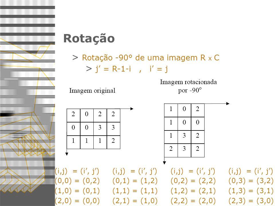 Rotação > Rotação -90° de uma imagem R x C > j = R-1-i, i = j (i,j) = (i, j) (0,0) = (0,2) (1,0) = (0,1) (2,0) = (0,0) (i,j) = (i, j) (0,1) = (1,2) (1,1) = (1,1) (2,1) = (1,0) (i,j) = (i, j) (0,2) = (2,2) (1,2) = (2,1) (2,2) = (2,0) (i,j) = (i, j) (0,3) = (3,2) (1,3) = (3,1) (2,3) = (3,0)