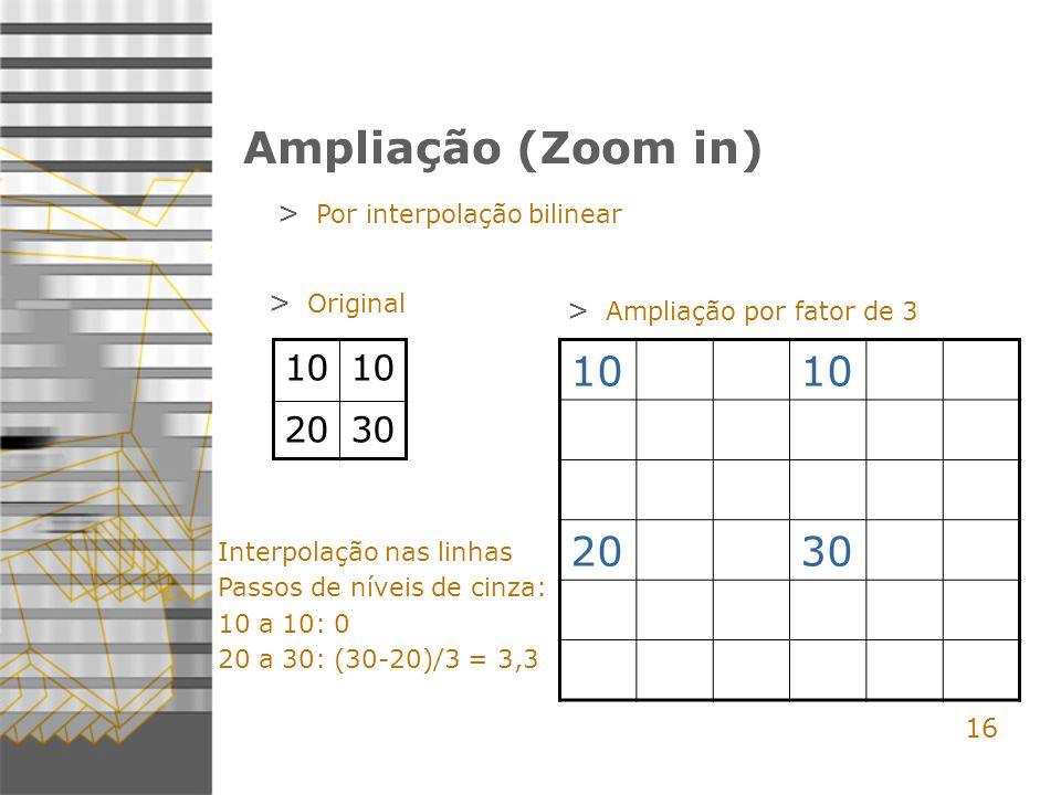 16 Ampliação (Zoom in) > Por interpolação bilinear 10 2030 10 2030 > Original > Ampliação por fator de 3 Interpolação nas linhas Passos de níveis de cinza: 10 a 10: 0 20 a 30: (30-20)/3 = 3,3