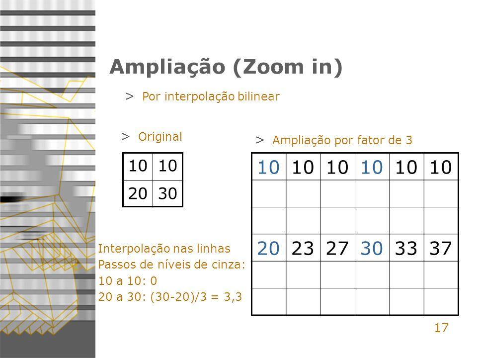 17 Ampliação (Zoom in) > Por interpolação bilinear 10 2030 10 202327303337 > Original > Ampliação por fator de 3 Interpolação nas linhas Passos de níveis de cinza: 10 a 10: 0 20 a 30: (30-20)/3 = 3,3
