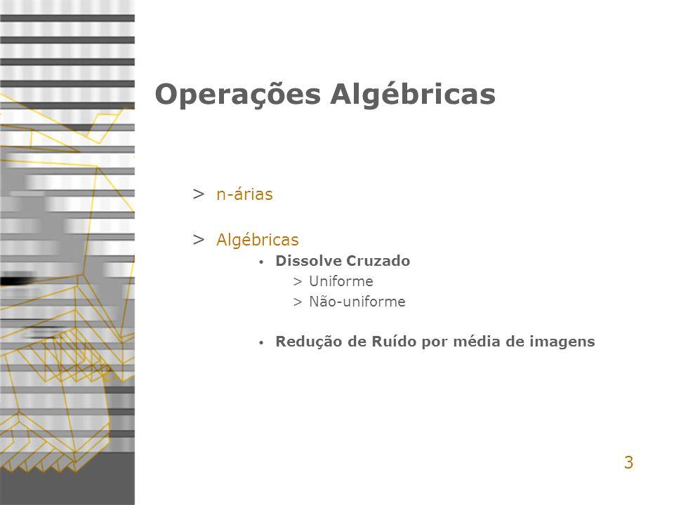 3 Operações Algébricas > n-árias > Algébricas Dissolve Cruzado >Uniforme >Não-uniforme Redução de Ruído por média de imagens