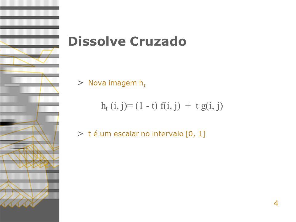 4 Dissolve Cruzado > Nova imagem h t h t (i, j)= (1 - t) f(i, j) + t g(i, j) > t é um escalar no intervalo [0, 1]