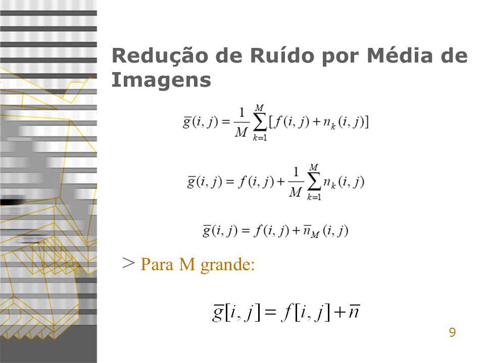 9 Redução de Ruído por Média de Imagens > Para M grande: